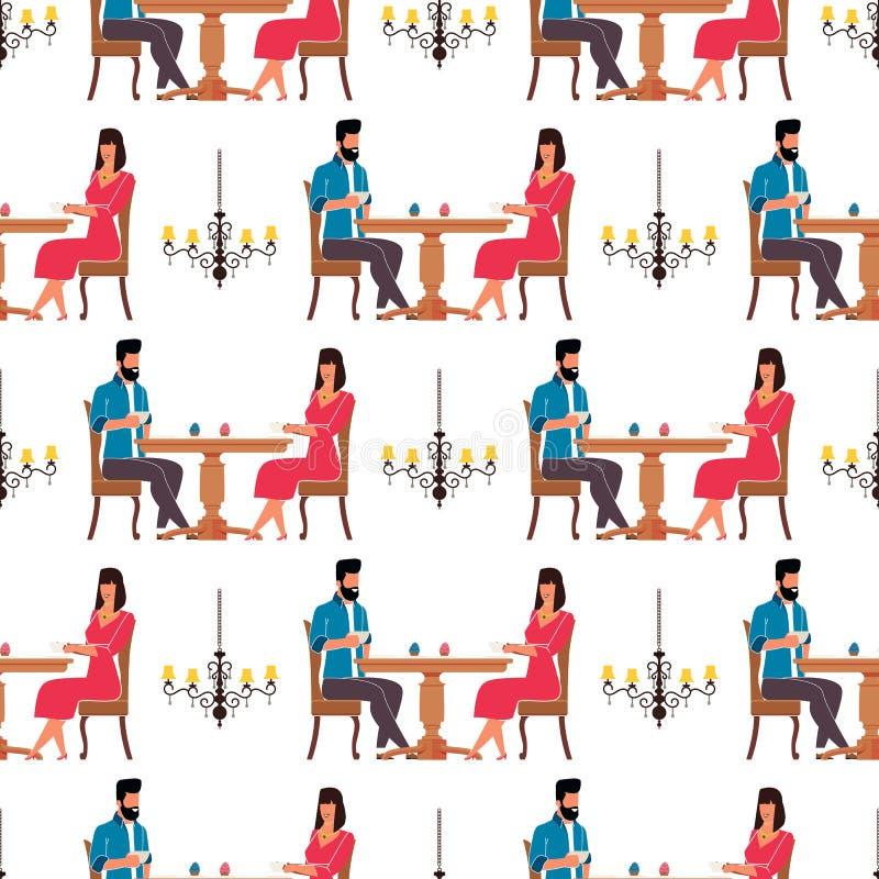 Mann und Frau im Cafeteria-flachen nahtlosen Muster lizenzfreie abbildung