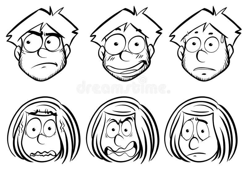Mann und Frau mit verschiedenen Gesichtsausdrücken lizenzfreie abbildung