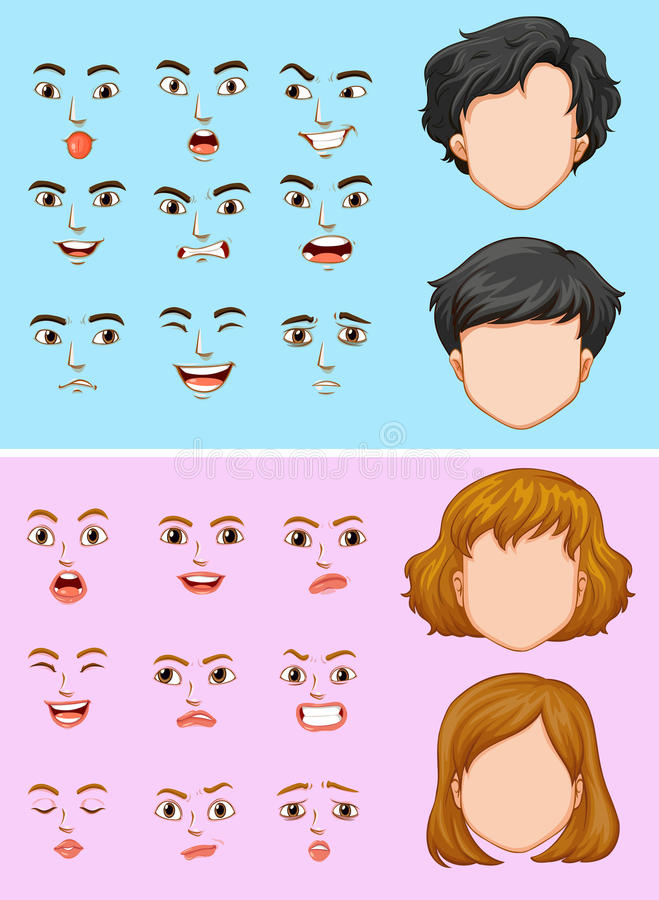 Mann und Frau mit vielen Gesichtsausdrücken lizenzfreie abbildung
