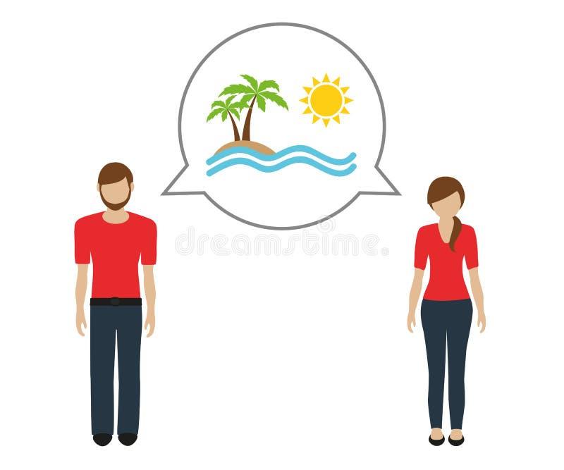 Mann und Frau sprechen über Sommerferien auf dem Strand lizenzfreie abbildung