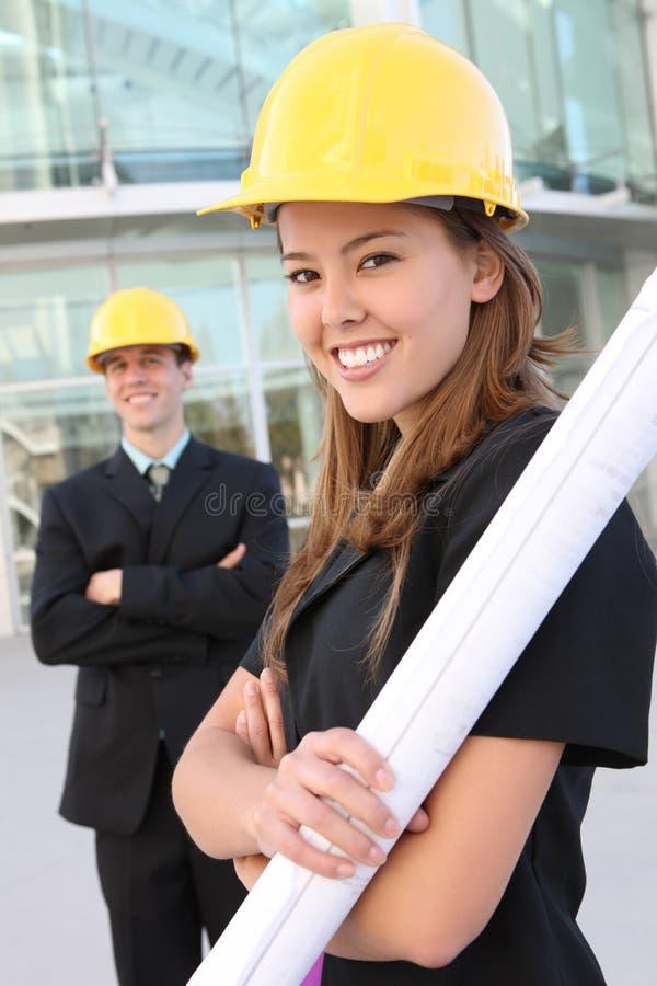 Mann-und Frauen-Aufbau lizenzfreies stockbild