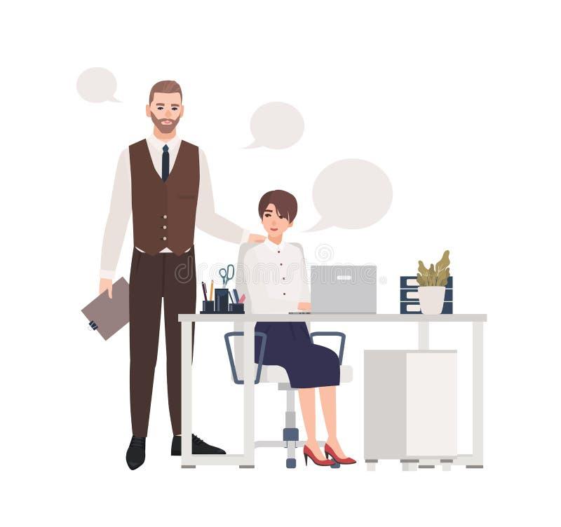Mann und Frauen, die zusammenarbeiten B?roangestellte oder Kollegen gekleidet in der intelligenten Kleidung, die im Stuhl sitzt u vektor abbildung