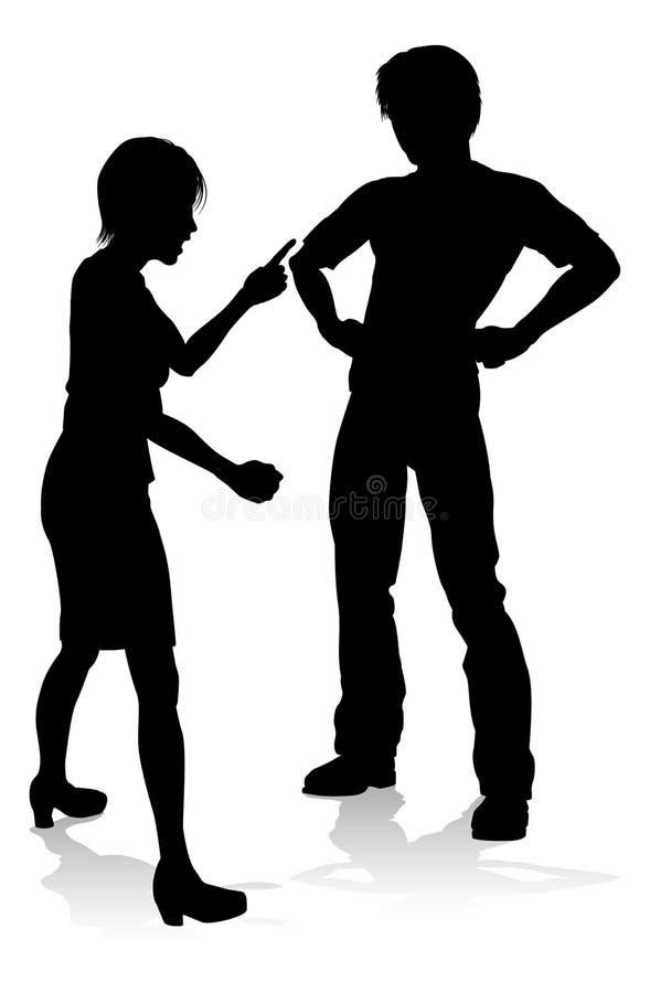 Mann-und Frauen-Paare, die Schattenbild argumentieren stock abbildung