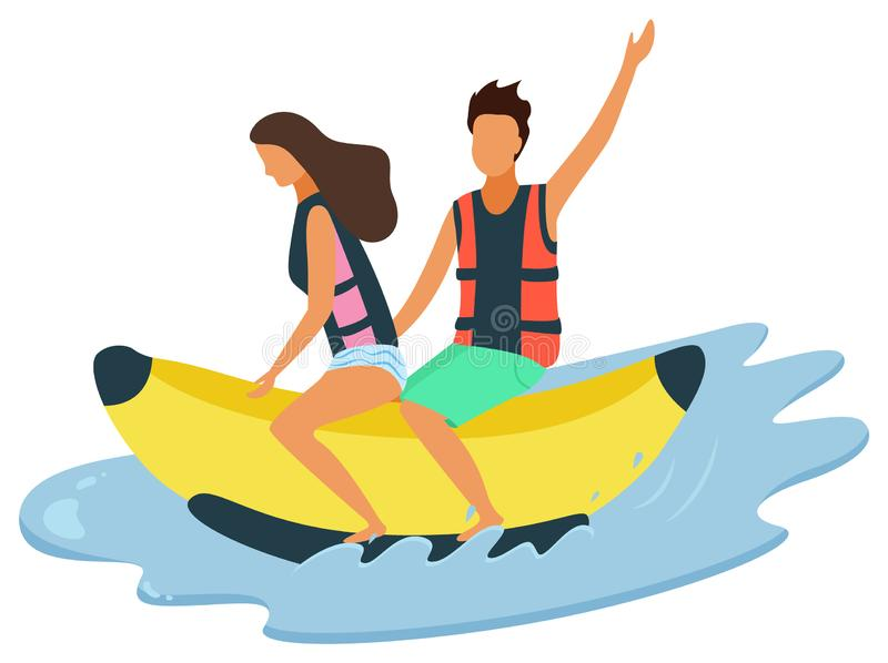 Mann-und Frauen-Reiten auf aufblasbarer Banane auf Meer vektor abbildung