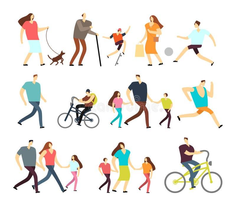 Mann- und Frauengehen im Freien Vector aktive Charaktere der Karikatur in den verschiedenen Lebensstilen in der Straße lizenzfreie abbildung