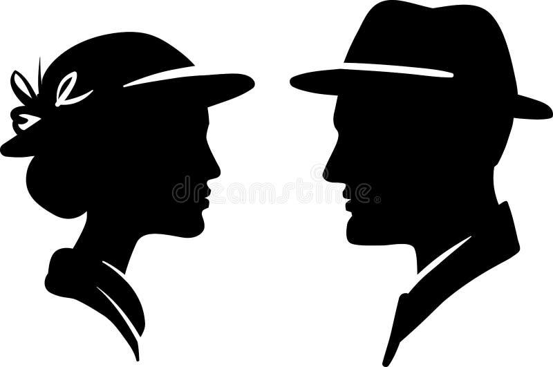 Mann- und Frauengesichtsprofil lizenzfreie abbildung