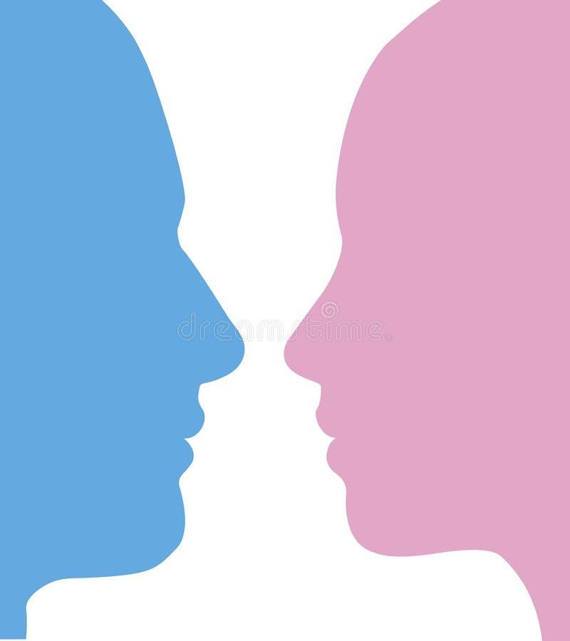 Mann- und Frauengesichtsschattenbild lizenzfreie abbildung