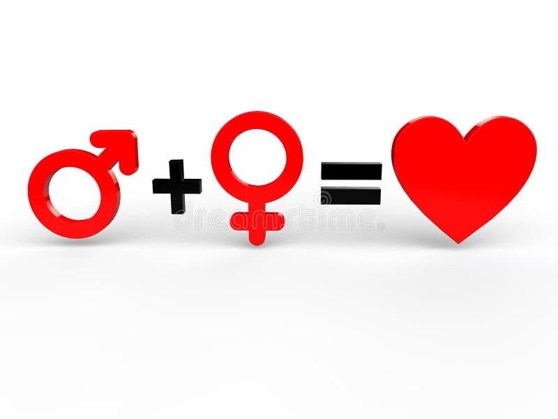 Mann- und Frauengleichgestelltliebe lizenzfreie abbildung