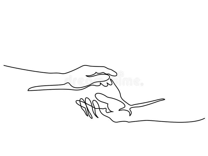 Mann- und Frauenhände zusammenhalten lizenzfreie abbildung
