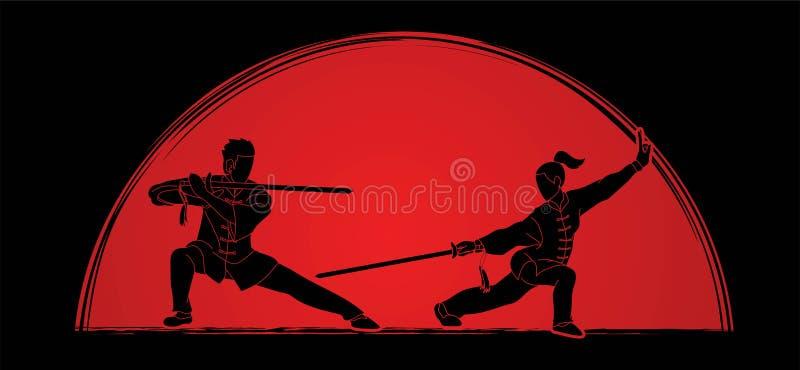 Mann- und Frauenhaltung mit den Klingen bereit, Kung Fu-Karikaturgraphik zu kämpfen lizenzfreie abbildung