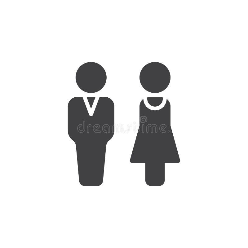 Mann- und Frauenikone vector, gefülltes flaches Zeichen, das feste Piktogramm, das auf Weiß lokalisiert wird vektor abbildung