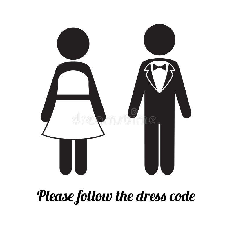 Mann- und Frauenikonen Abendgarderobe-Kleiderordnungs-Ikone stock abbildung