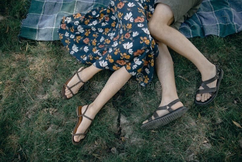 Mann- und Frauenlüge im Sommer auf dem Grasabschluß oben stockfotografie