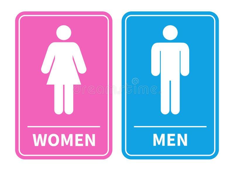 Mann- und Frauentoilettenzeichen Mann und weibliche silhouettierte Zahlen auf einem Blauen und ein rosa Toilettenzeichen Auch im  stock abbildung