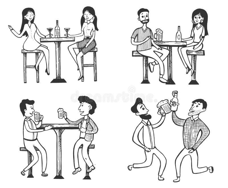 Mann- und Frauentreffen, trinkend an der Bar lizenzfreie abbildung