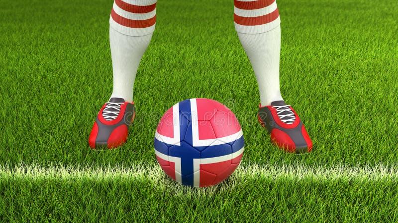 Mann und Fußball mit norwegischer Flagge lizenzfreie abbildung