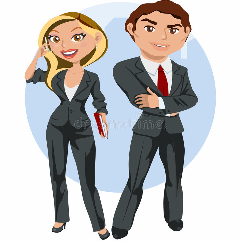 Mann und Geschäftsfrau elegant lizenzfreie abbildung
