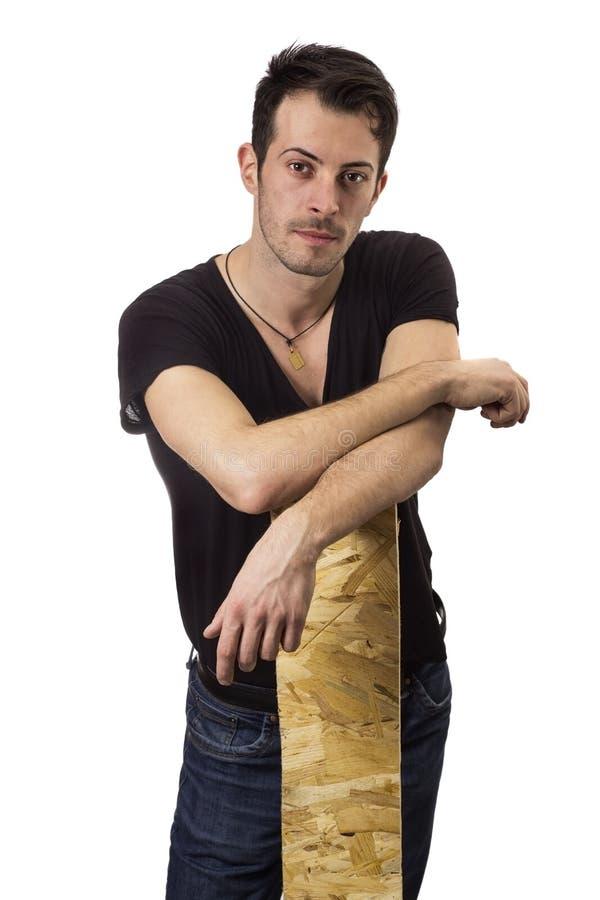 Mann und Holz lizenzfreies stockfoto