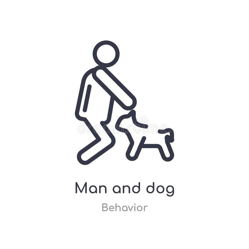 Mann- und Hundeentwurfsikone lokalisierte Linie Vektorillustration von der Verhaltensammlung editable Haarstrichmann- und -hundei stock abbildung