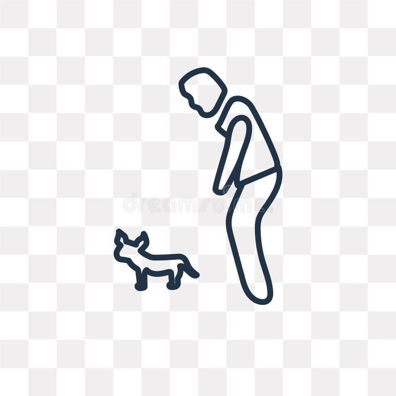 Mann- und Hundevektorikone lokalisiert auf transparentem Hintergrund, Linie lizenzfreie abbildung