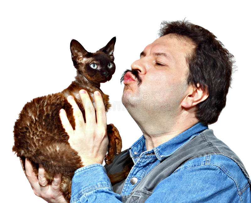 Mann und Katze lizenzfreies stockfoto