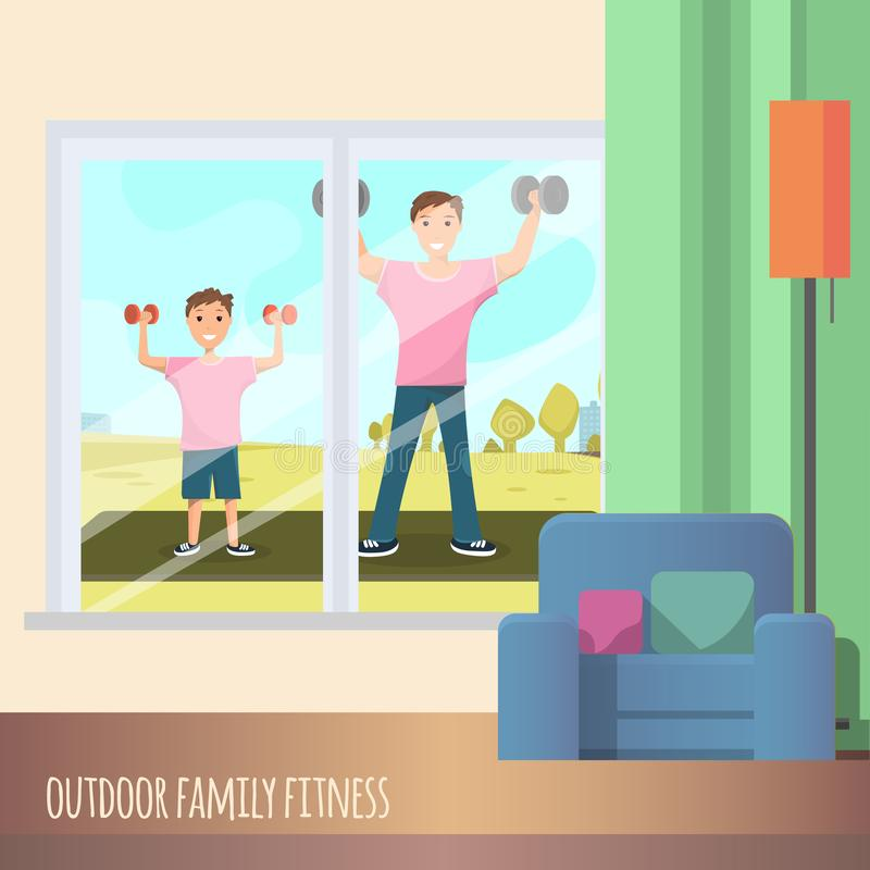 Mann-und Kinderstehender Ausbildungssport im Freien stock abbildung