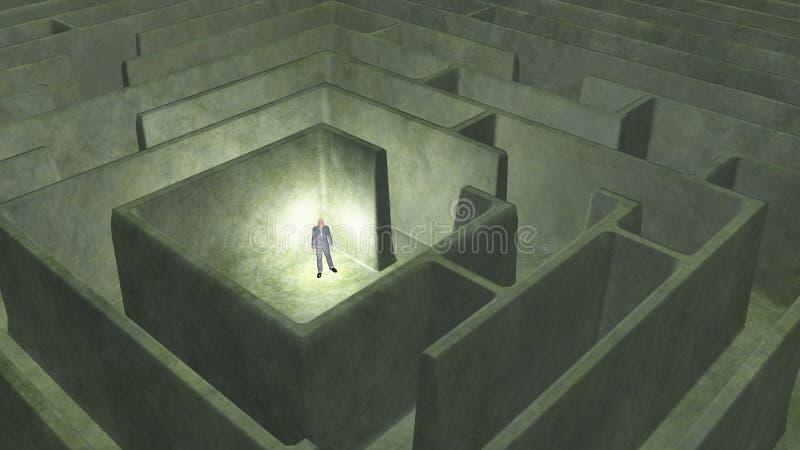 Mann und Labyrinth lizenzfreie abbildung