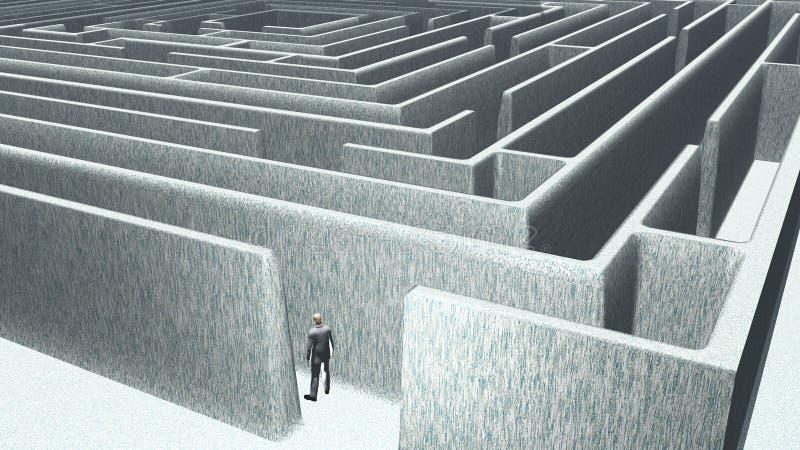 Mann und Labyrinth stock abbildung