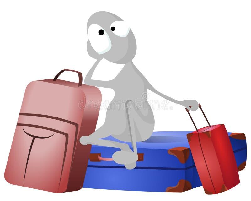 Mann und Lots Gepäck vektor abbildung