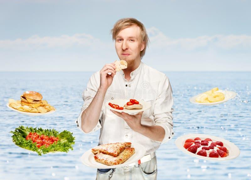 Mann und Mahlzeiten stockfoto