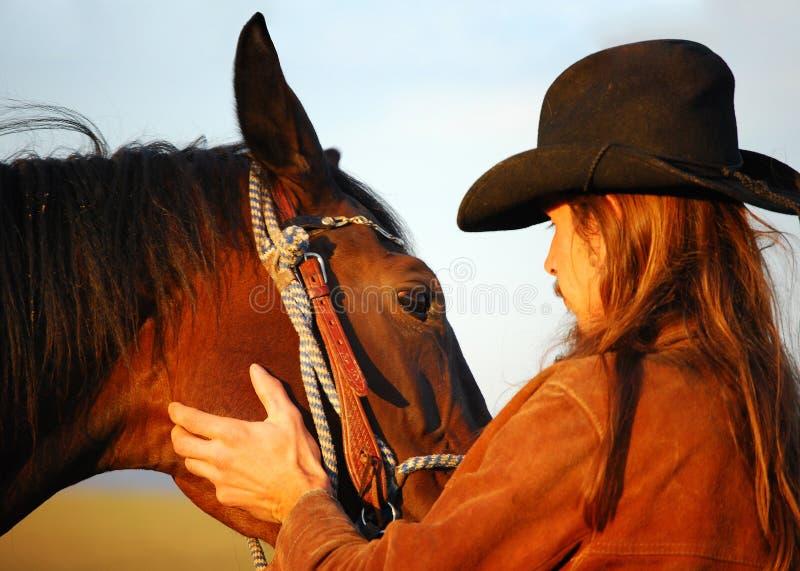 Mann und Pferd lizenzfreie stockfotos