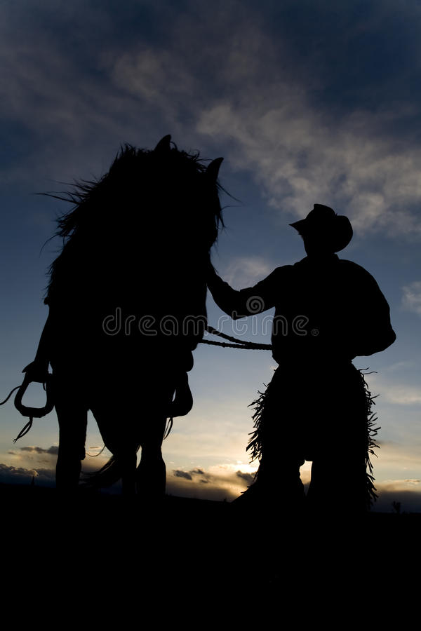 Mann und Pferd im Wind stockbild