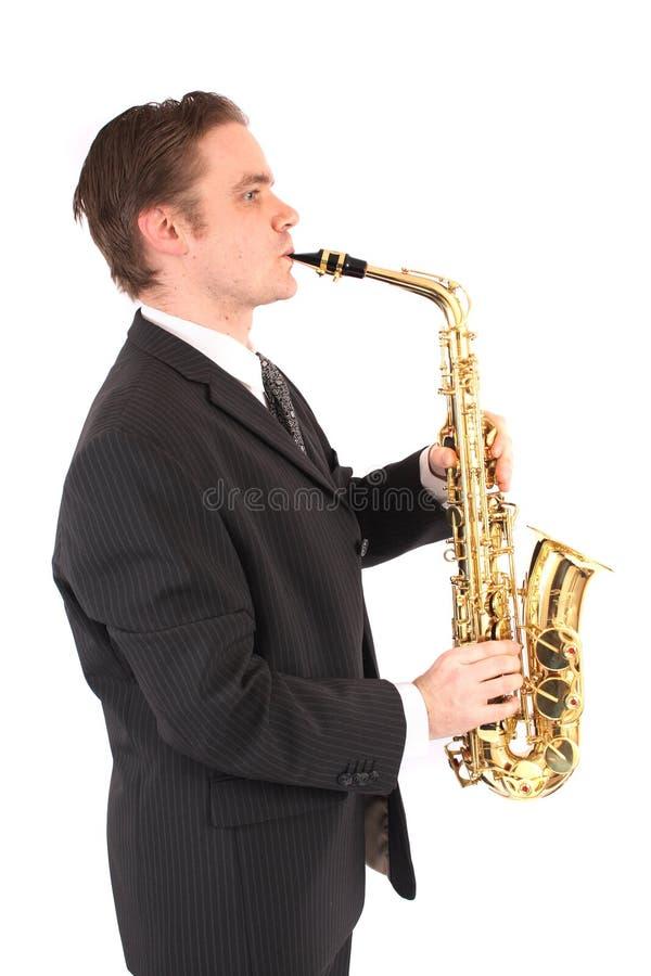 Mann und Saxophon stockfoto