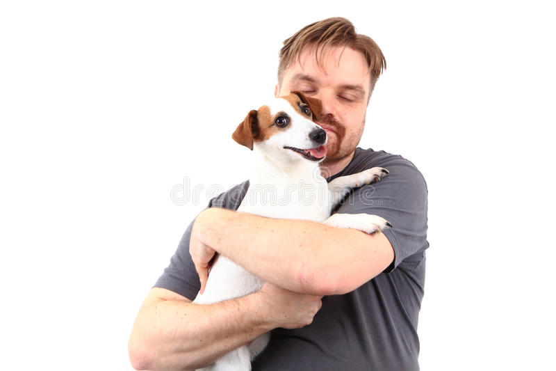 Mann und Steckfassungsrussell-Terrier lizenzfreie stockfotografie