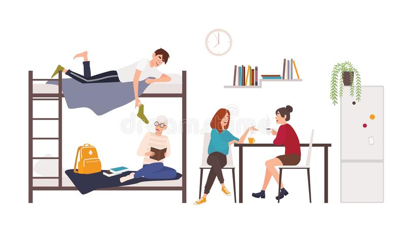 Mann und Studentinnen, die Zeit im Collegeschlafsaalraum verbringen Junge Männer und Frauen, die den Kaffee, sprechend trinken stock abbildung