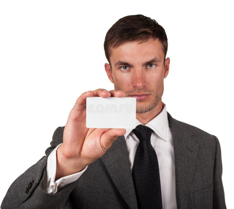 Mann und Visitenkarte lizenzfreie stockbilder