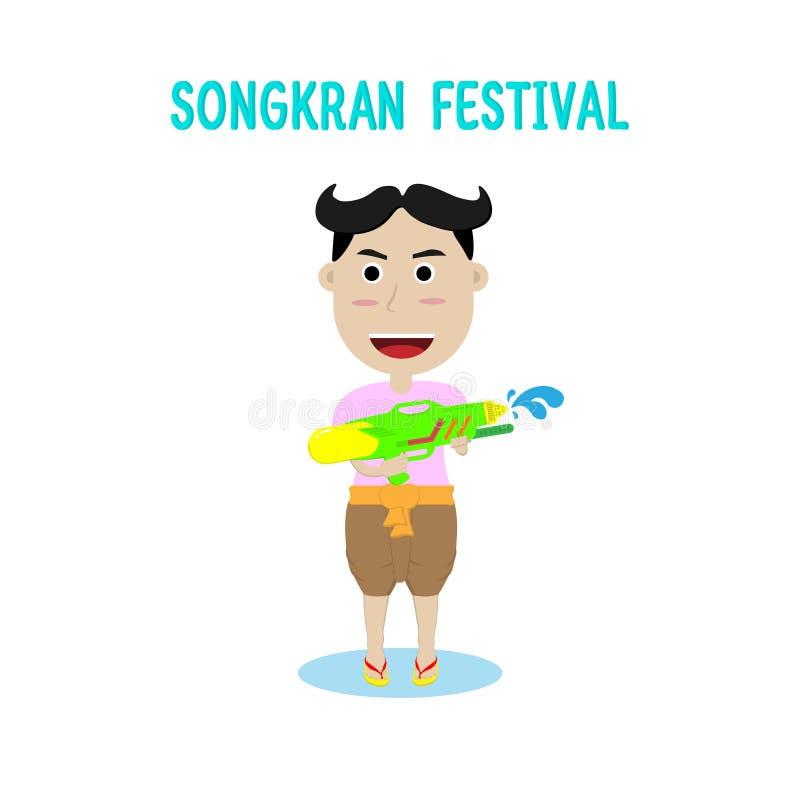 Mann und Wasserwerfer in Songkran-Festival stockfotos
