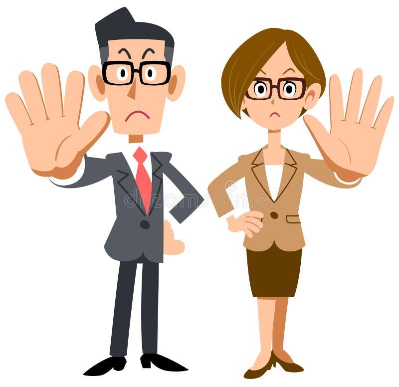 Mann und weibliche Büroangestellte, die Gläser tragen, um Ablehnung aufzuwerfen vektor abbildung