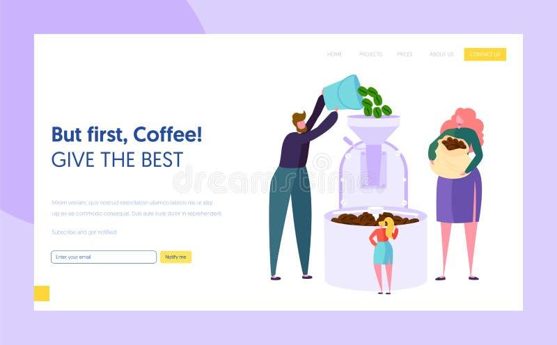 Mann und weibliche Figur machen Bratrohkaffee Bean in der Metallbehälter-Landungs-Seite Kaffee-Fertigungstechnik cafeteria stock abbildung