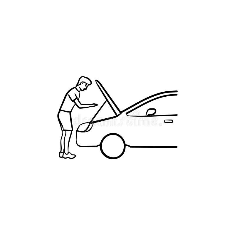 Mann unter der Haube Entwurfs-Gekritzelikone des Autos der Hand gezeichneten lizenzfreie abbildung