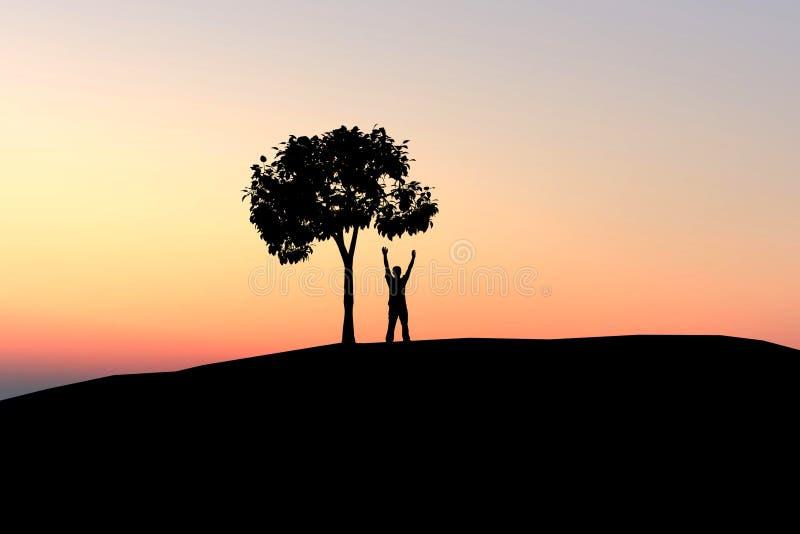 Mann unter einsamem Baum lizenzfreie abbildung
