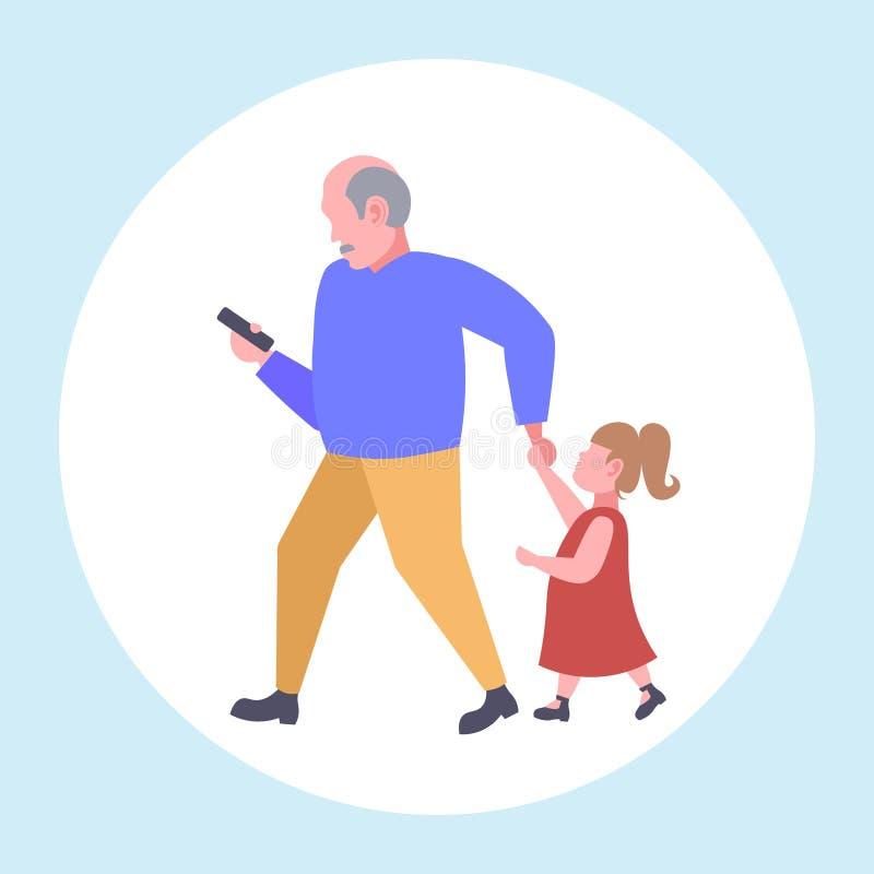 Mann unter Verwendung des Mobiltelefons, beim Gehen mit kleines Kindertochter wünschen Aufmerksamkeit vom Vater Smartphone-Suchtk vektor abbildung