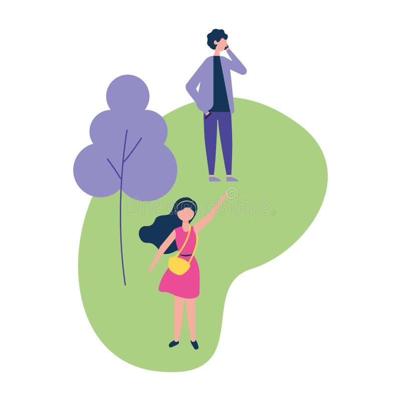 Mann unter Verwendung des Mobiltelefons und der Frau in den Parktätigkeiten vektor abbildung