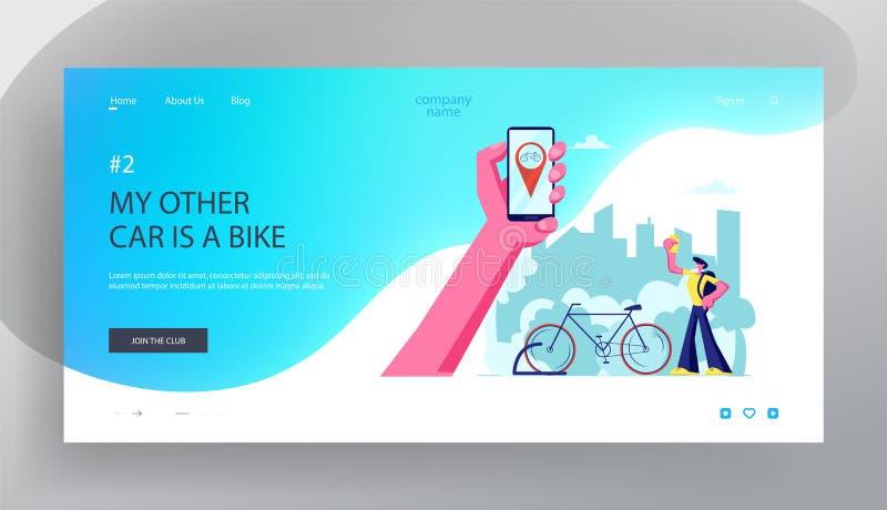 Mann unter Verwendung Smartphone-Anwendung für Fahrrad-Mietservice Hand, die Smartphone mit Fahrrad Gps Geolocation hält Reisen,  lizenzfreie abbildung