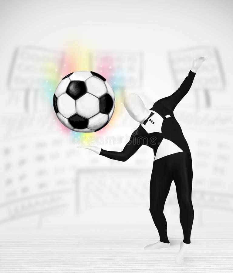 Mann in vollem Körperklage holdig Fußball stock abbildung