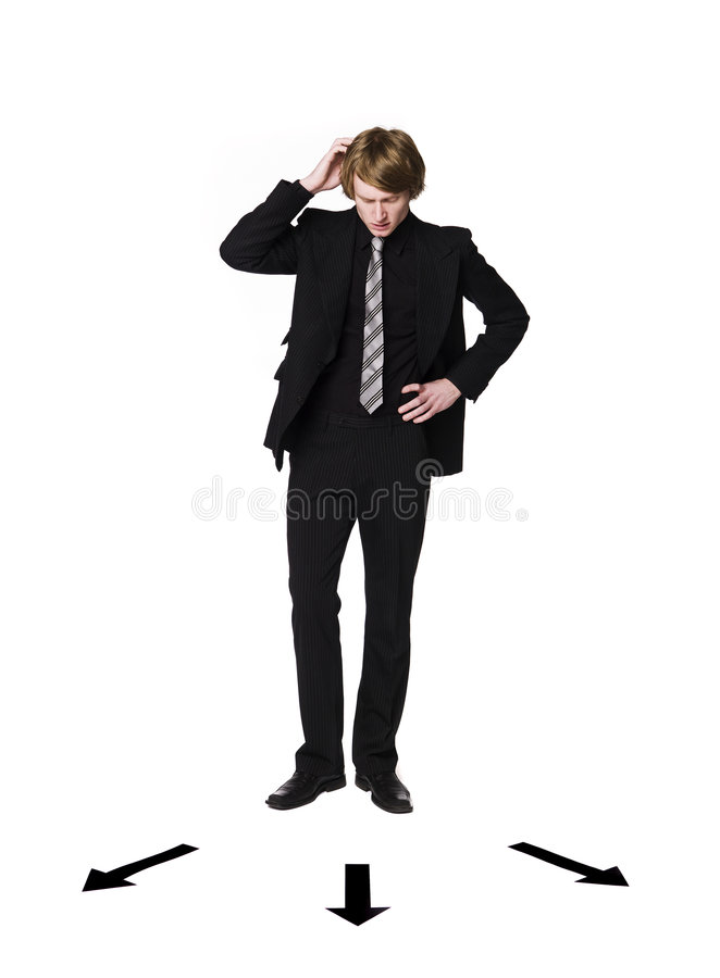 Mann vor einer Wahl lizenzfreie stockfotos