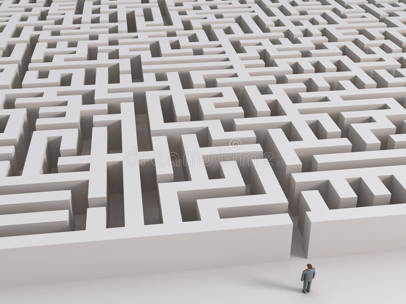 Mann vor Labyrinth lizenzfreie abbildung