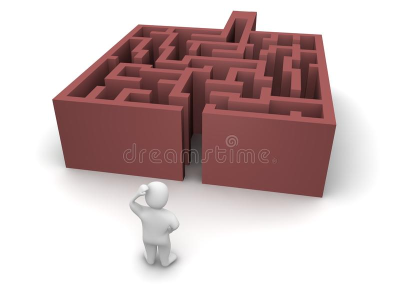 Mann vor Labyrinth ohne Ausgang stock abbildung