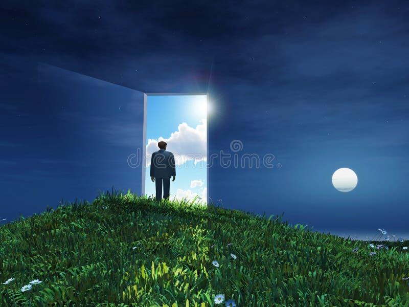 Mann vor offener Tür zum Himmel vektor abbildung