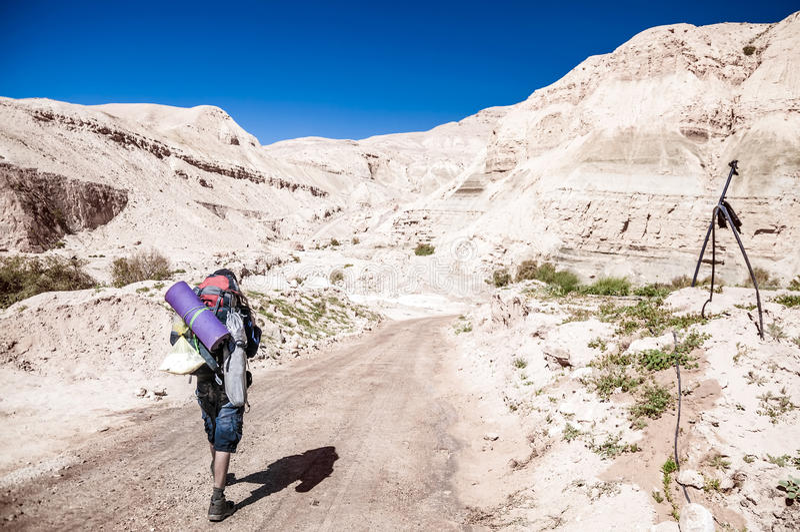 Mann wandert in Wadi Hasa, Jordanien stockbild